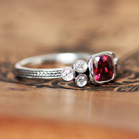 Ruby Cushion Ring with Moissanite Accents, Sterling Silver