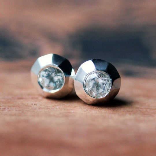 Tiny Modern White Topaz Stud Earrings