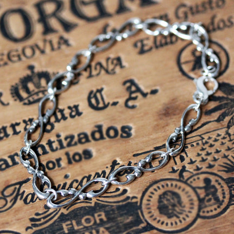 Wrought Infinity Sterling Silver Link Bracelet