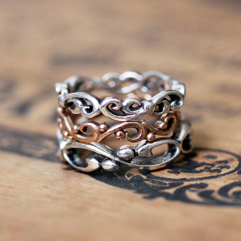 stacking rings, sterling silver wave ring, rose gold curl ring and silver infinity band