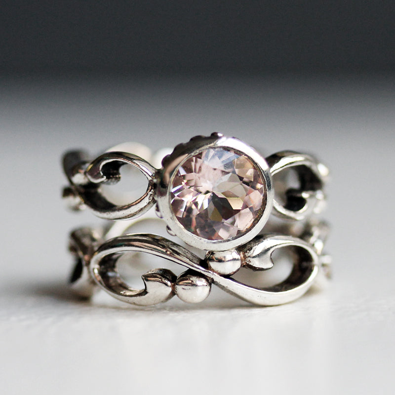 Sterling silver handmade engagement ring set with morganite from Metalicious