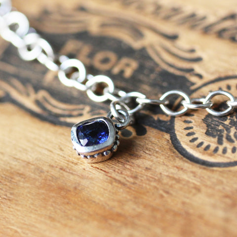 Cushion Cut Gemstone Dangle Bracelet- sterling silver
