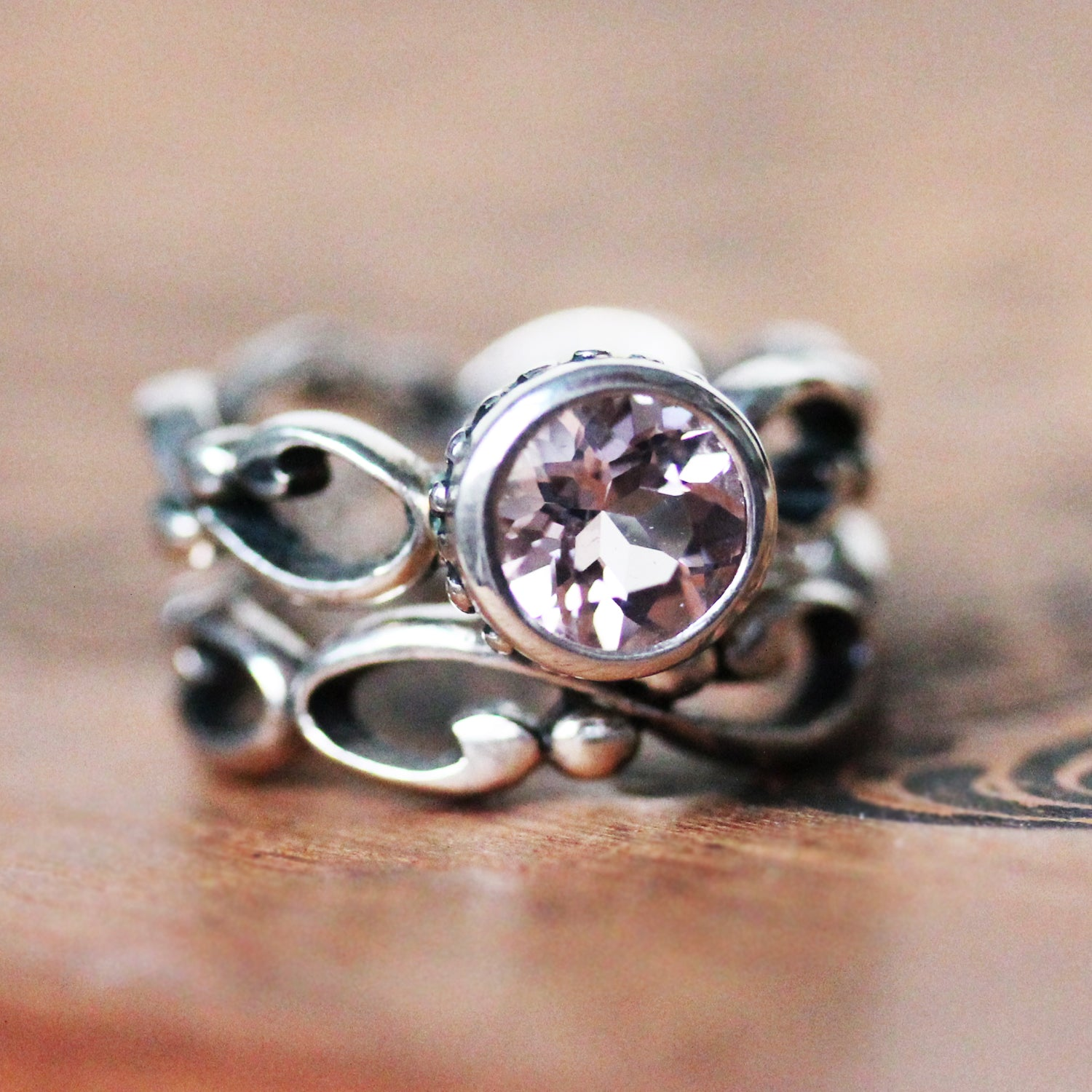 Close look at the light pink morganite used on this engagement ring from Metalicious