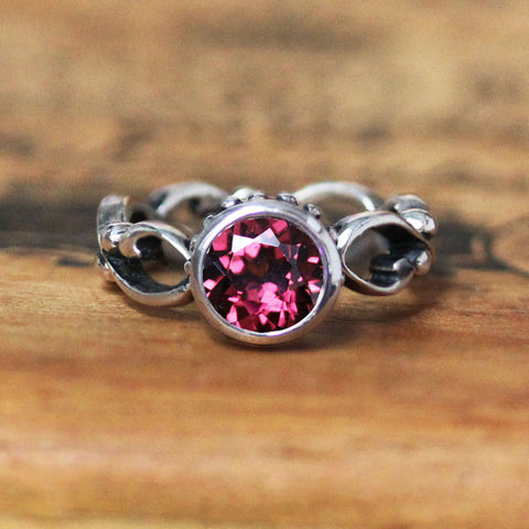 Rhodolite Garnet Wrought Ring in Sterling Silver