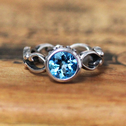 Swiss Blue Topaz Wrought Ring