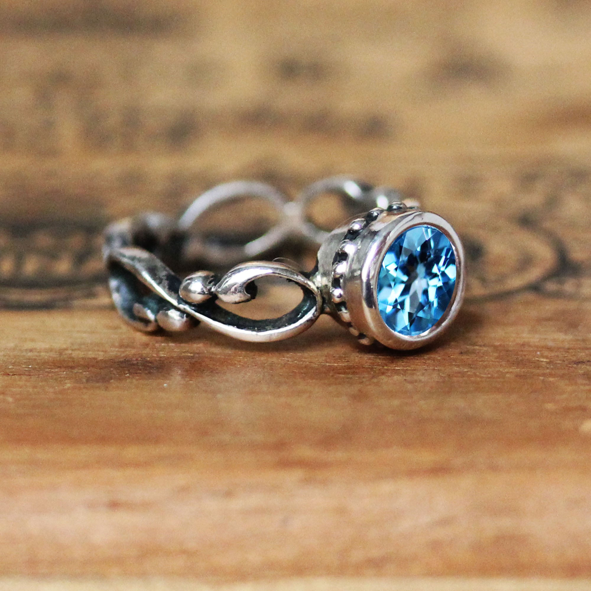 Wrought Ring with Swiss Blue Topaz in Sterling Silver