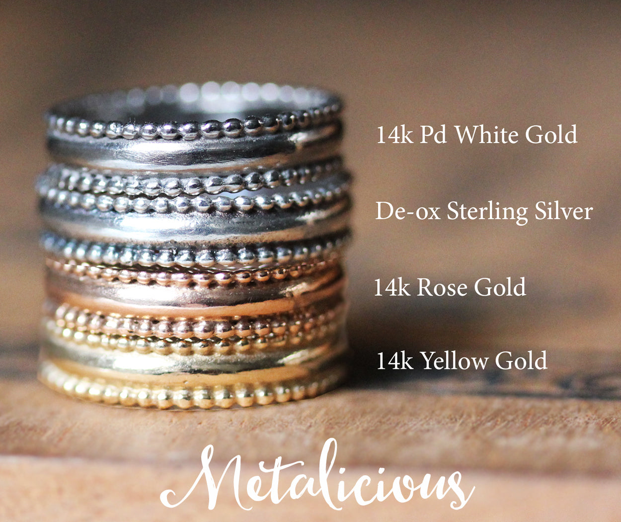 lace bands all gold stack with descriptions and logo