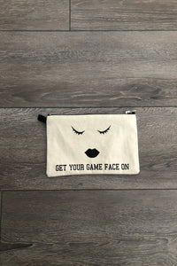 Canvas Make-Up Bags, fabric lined, with matching zipper & bold graphic design