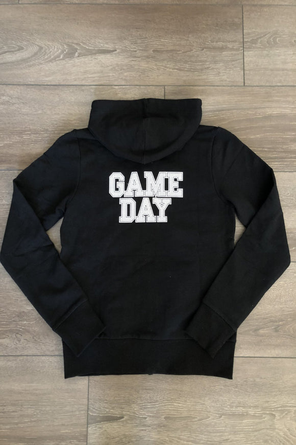 GAME DAY Youth Black Zip-Up Hoodie