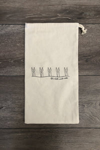 Canvas & vinyl-lined, silkscreened wet bags- summer is coming!