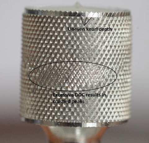 Oversized material diameter produces bad knurl pattern