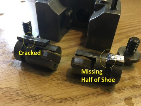Broken swivel shoes on Brown and Sharp 185-220 crush-type knurl die holder