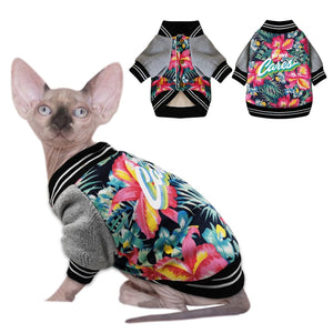 Pet Cat Clothes Thicken Warm Cotton Puppy Pet Cat Coat Jackets Costumes Printed Clothes