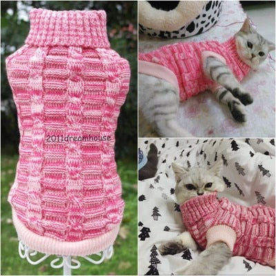 Image of Cat Sweater Coat Spagetti Warm Autumn Winter Pet Jumper
