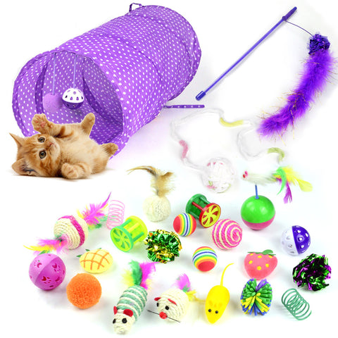 Image of Cat Toy 24Pcs/Set Pet Kit Collapsible Tunnel Cat toy Fun Bell Feather Mice Shape