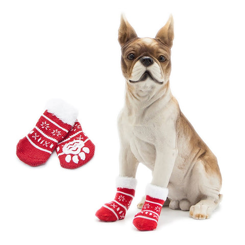 Christmas Pet Dog Socks Shoes NEW YEAR Christmas snowflake shape