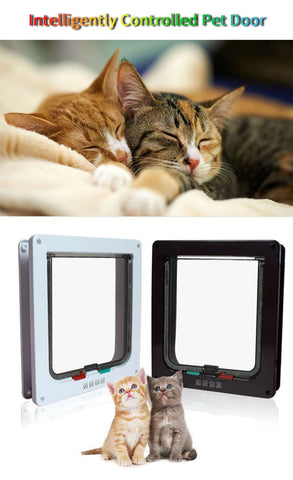Image of Cat Door Pet Door 4 Way Lockable Security Flap Door for Dog Cat Kitten Wall Mount Door