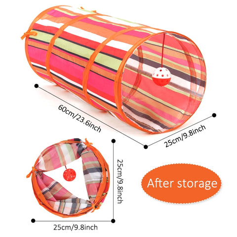 Image of Pet Cat Tunnels 2 Holes Cat Play Tubes With Ball Collapsible Crinkle