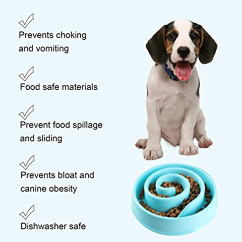Image of Pet Dog Feeding Food Bowls Puppy Slow Down Eating Feeder Dish Bowel