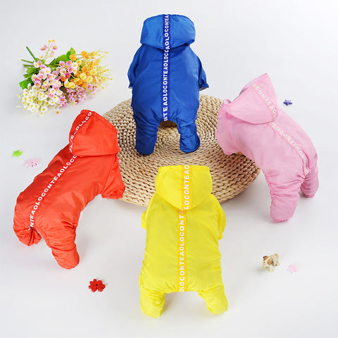 Dog Jumpsuit Raincoats Puppy Dog Coats Waterproof 4 Colors Size XS-XXL