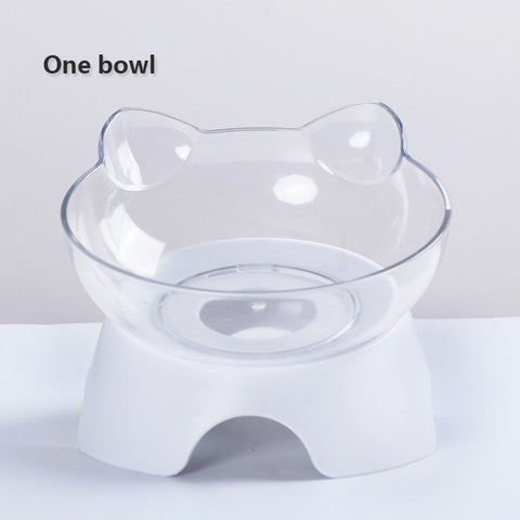 Cat Ears Shaped Oblique Cat Bowl Pet Double Bowls Drinking Fountain