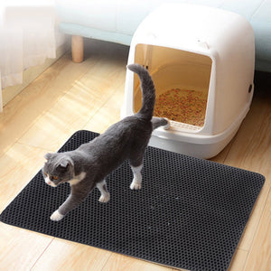 Pet Cat Litter Mat EVA Double-Layer Cat Litter Trapper Mats with Waterproof Bottom