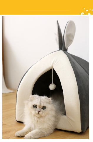 Image of Cat Bed Indoor Kitten House Warm Small for cats Dogs Nest Collapsible Cat Cave