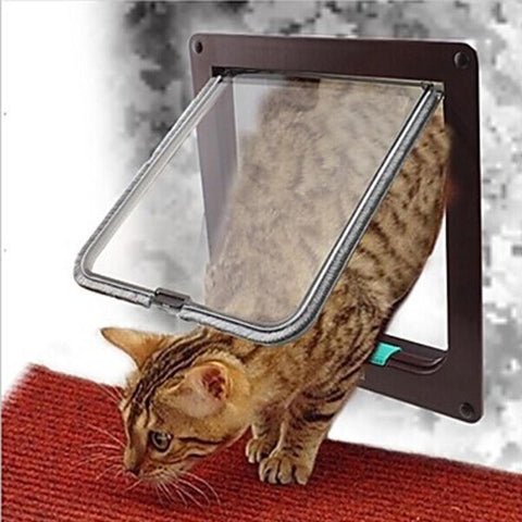 Image of Pet Dog Door 4 Way Lockable Security Flap Door for Dog Cat Kitten Wall Mount Door