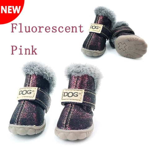 Warm Snow Boots Waterproof Fur 4Pcs/Set Small Dogs Cotton Non Slip