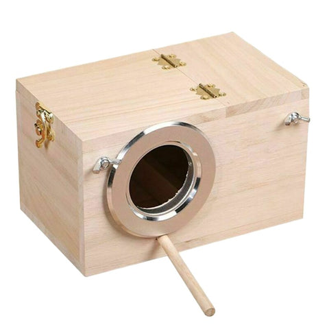 Image of Wood Bird House Nest Birds Breeding Box Bird Parrot Breeding Decorative Cages