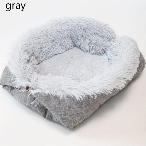Image of Removable Cat Sleeping Bag Sofas Mat Hamburger Dog House Short Plush Small Pet Bed