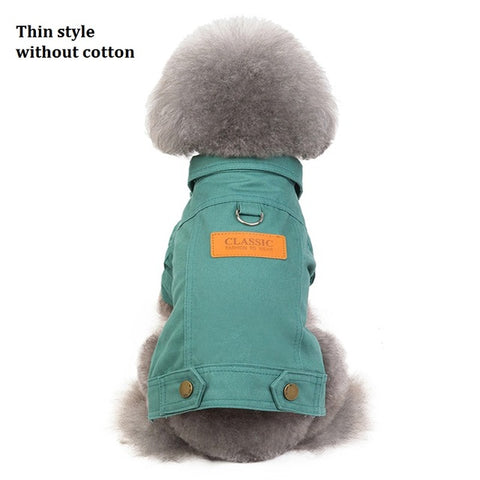 Image of Pet Outfits Dog Denim Coat Jeans Costume Chihuahua Poodle Bichon Pet Clothing