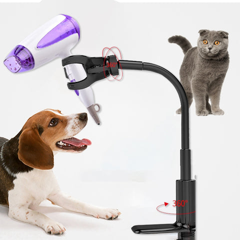 Image of Pet Hair Dryer Stand Fixed Bracket 360 Degree Rotating Freely Retractable Rack