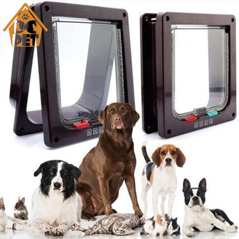 Image of 4 Way Lockable Dog Cat Kitten Door Security Flap Door ABS Plastic S/M/L Animal