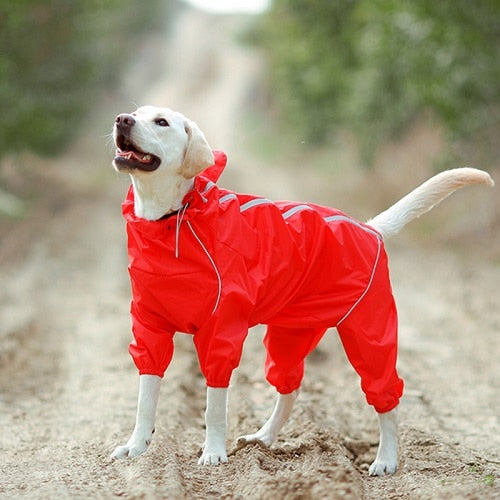 Waterproof Clothes High Neck Hooded Jumpsuit For Small Big Dogs Raincoat