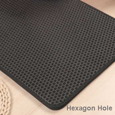 Image of Pet Cat Litter Mat EVA Double-Layer Cat Litter Trapper Mats with Waterproof Bottom