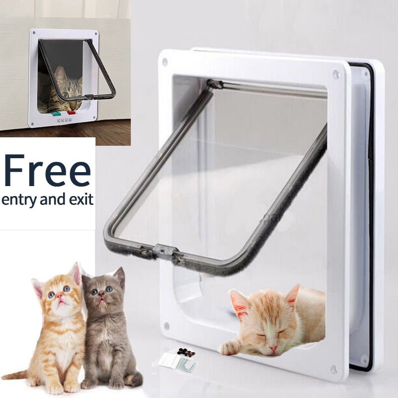 Cat Door Pet Door 4 Way Lockable Security Flap Door for Dog Cat Kitten Wall Mount Door
