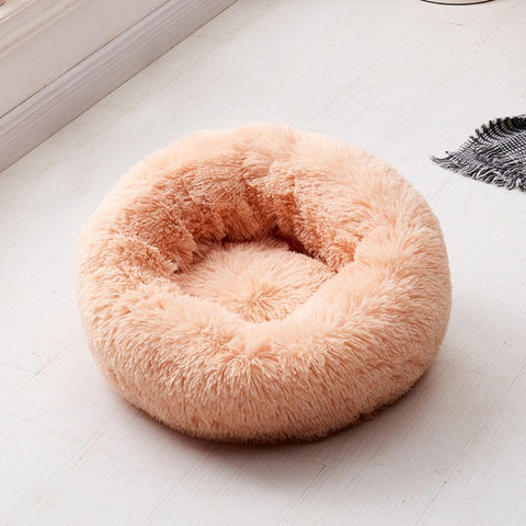Long Plush Super Soft Dog Bed Pet Kennel Round Sleeping Bag