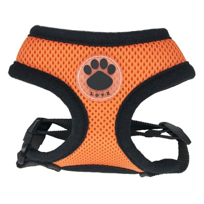Rubber Adjustable Soft Breathable Dog Cat Control dog Harness Nylon Mesh Vest harness