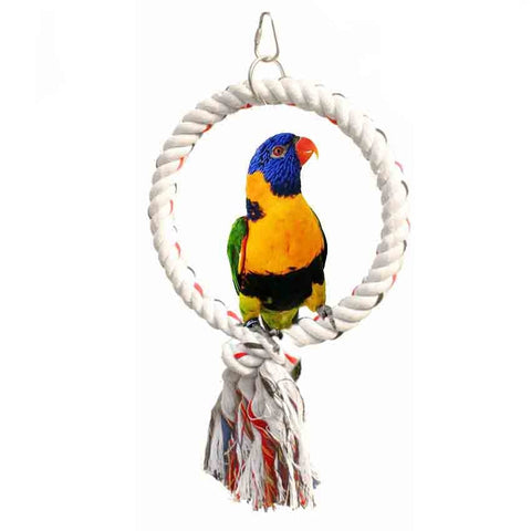 Image of Cage Brand Toy Bird Cotton Rope Ring Perch Stand Perch Rack Toy