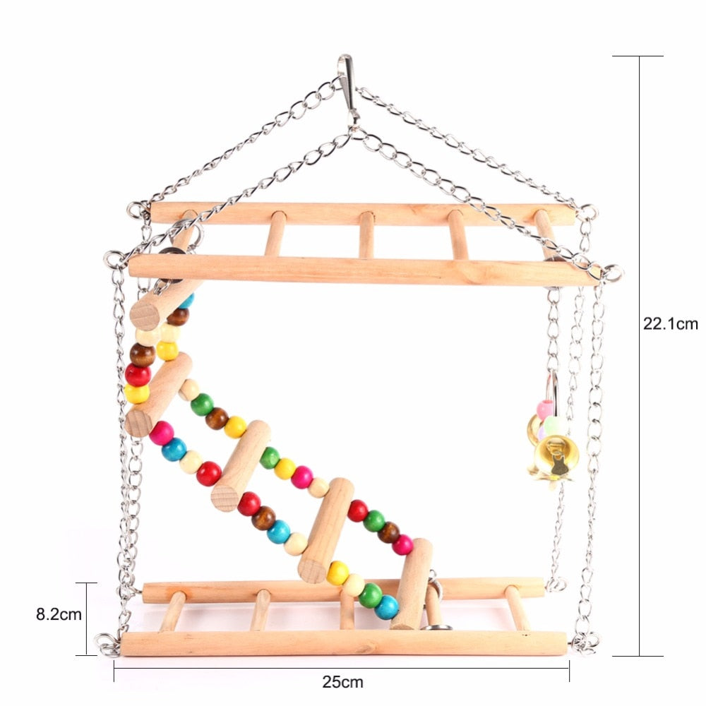 Parrots Toys Bird Swing Exercise Climbing Hanging Ladder Bridge Wooden Rainbow
