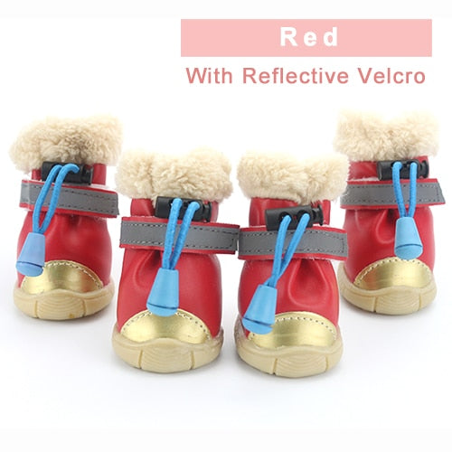 Winter Pet Dog Shoes Light Reflection Strip Waterproof Dogs Boots Warm Rubber