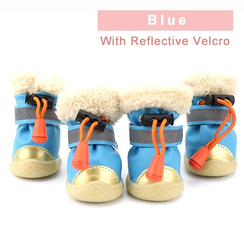 Image of Winter Pet Dog Shoes Light Reflection Strip Waterproof Dogs Boots Warm Rubber