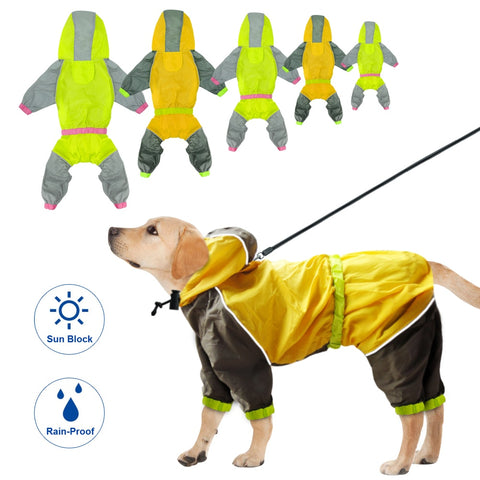 Waterproof Dog Raincoat Reflective Rain Jacket Safety Rainwear