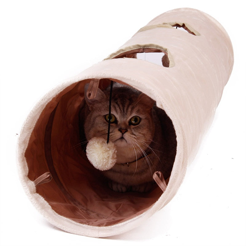 Cat Puppy Rabbit Teaser Funny Hide Tunnel Toys With Ball Collapsible