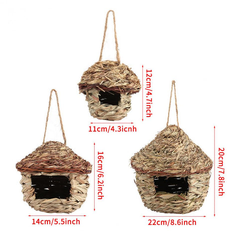 Straw Bird Nest Birdhouse for Parrot Hamster Small Animal's Cage Birds Breeding Nest bird House