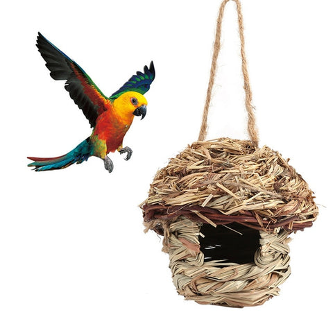 Image of Straw Bird Nest Birdhouse for Parrot Hamster Small Animal's Cage Birds Breeding Nest bird House