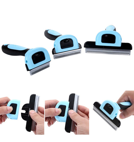 Image of Detachable Pet Hair Slicker Comb Pet Deshedding Comb Cat Dematting Clipper Grooming Tool