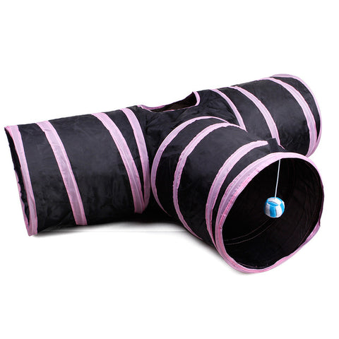Image of Pet cat Tunnel 3 WAY Y Shape Foldable Pet Puppy Animal Cat Kitten Play sound Toy
