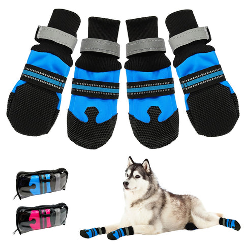 4pcs Waterproof Winter Pet Dog Shoes Anti-slip Snow Pet Boots Paw Protector Warm Reflective